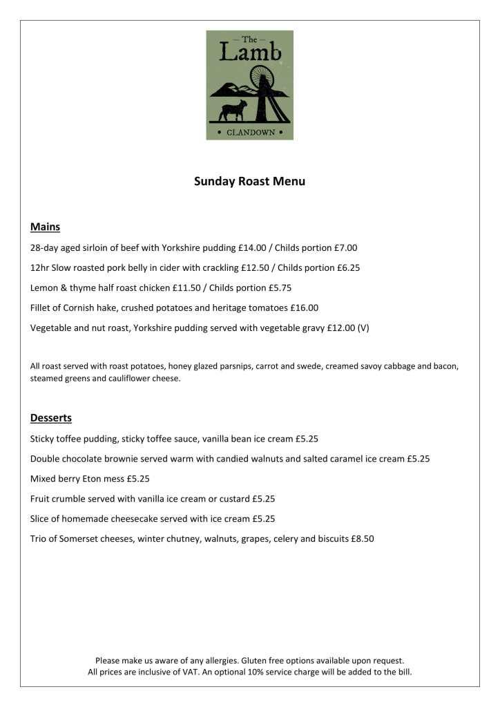 Clandown Lamb Sunday lunch menu